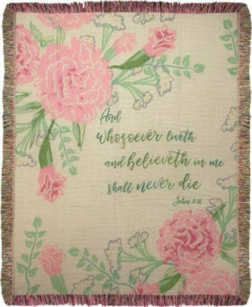 And Whosoever Believeth In Me Tapestry Throw