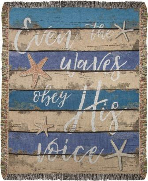 Even The Waves Obey His Voice Tapestry Throw