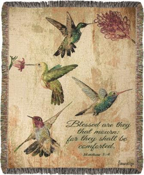 Hummingbird Floral With Verse Tapestry Throw