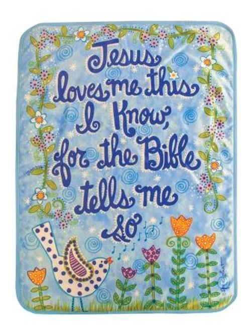 Jesus Loves Me Bird Blue Fleece Throw