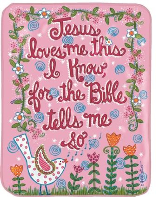 Jesus Loves Me Bird Pink Fleece Throw
