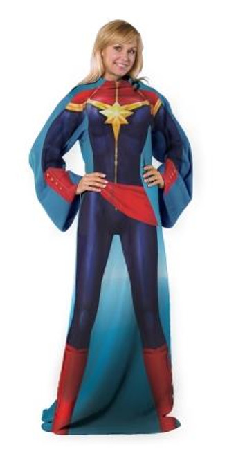 Avenger Mighty Captain Marvel Adult Comfy Throw Blanket with Sleeves