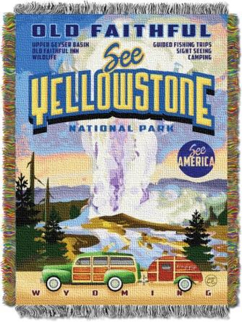 Vintage Yellowstone Tapestry Throw