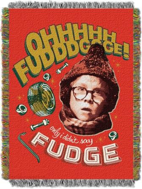 A Christmas Story Oh Fudge Tapestry Throw