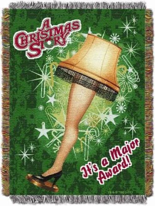 Xmas Store Holiday Leg Lamp Tapestry Throw