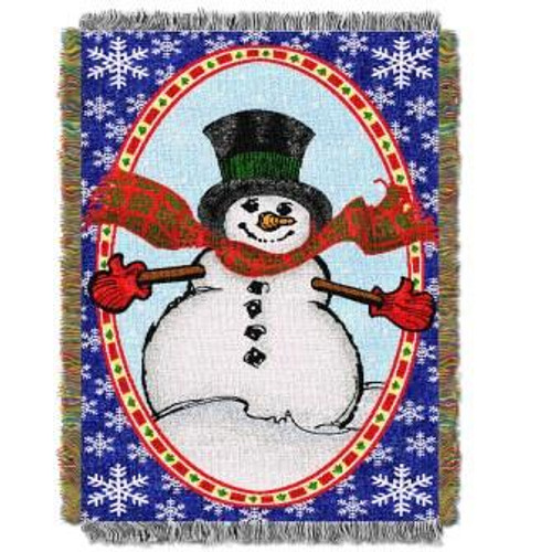 Bright Happy Snowman Tapestry Throw