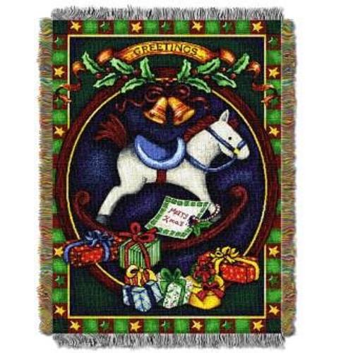 Holiday Hobby Horse Tapestry Throw