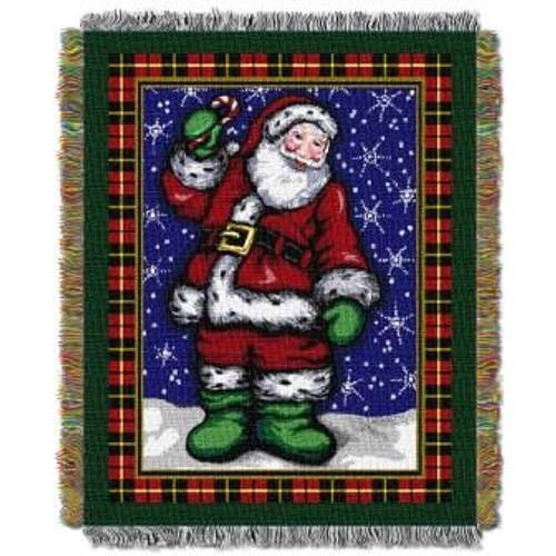Plaid Santa Tapestry Throw
