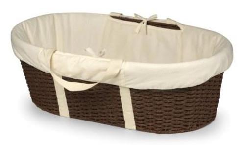 Wicker Look Woven Baby Moses Basket with Bedding Espresso Ecru