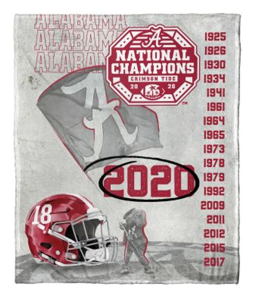 Alabama Crimson Tide 18x NCAA National Football Champions Silk Touch Throw Blanket