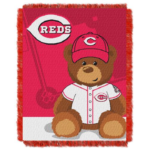 Cincinnati Reds Field Bear Baby Woven Jacquard Throw