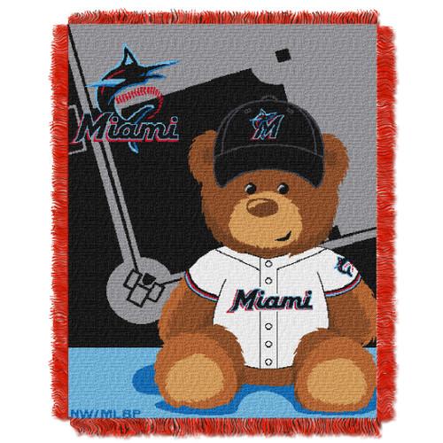 Miami Marlins Field Bear Baby Woven Jacquard Throw