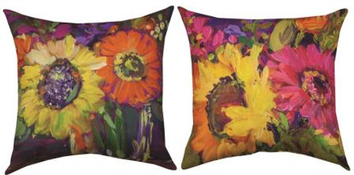 Floral Workshop Sunflowers Reversible Climaweave Pillow