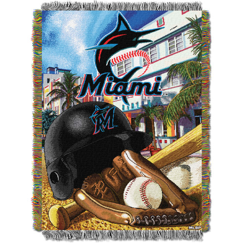 Miami Marlins Home Field Advantage Woven Tapestry Throw Blanket