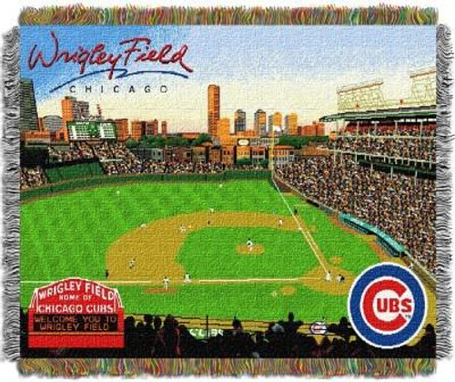 Chicago Cubs Wrigley Field Stadium Woven Tapestry Throw Blanket
