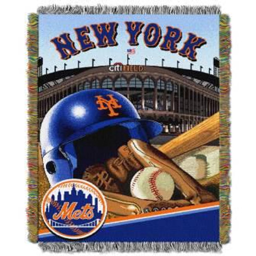 New York Mets Home Field Advantage Woven Tapestry Throw Blanket