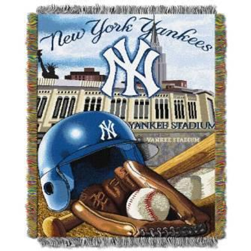 New York Yankees Home Field Advantage Woven Tapestry Throw Blanket