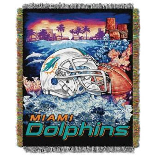 Miami Dolphins Home Field Advantage Woven Tapestry Throw Blanket