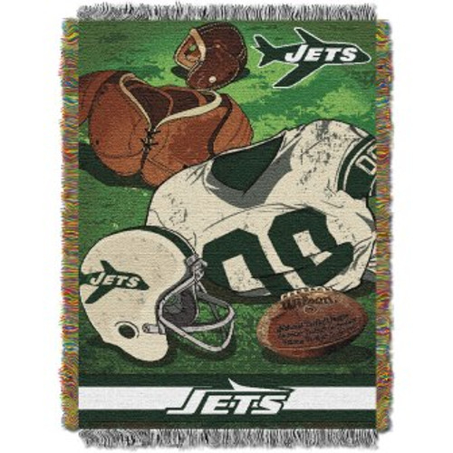 New York Jets Vintage Woven Tapestry Throw Blanket