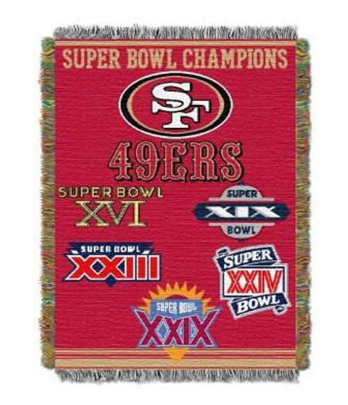 San Francisco 49ers Commemorative Woven Tapestry Throw Blanket