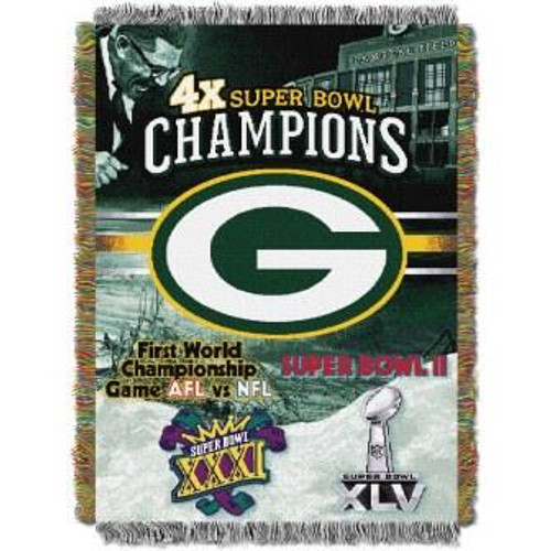 Green Bay Packers Commemorative Woven Tapestry Throw Blanket