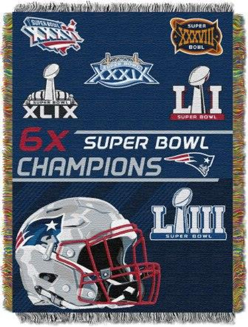 New England Patriots Commemorative Woven Tapestry Throw Blanket