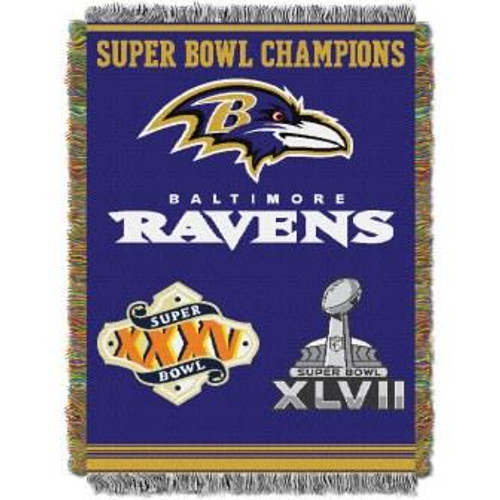 Baltimore Ravens Commemorative Woven Tapestry Throw Blanket