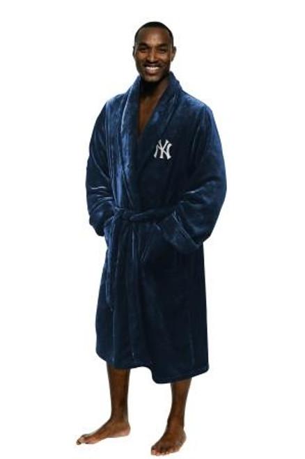 New York Yankees Mens Silk Touch Navy Bath Robe