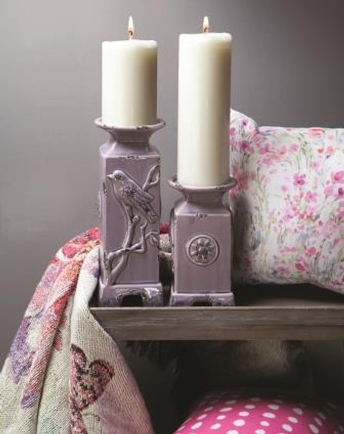 Ceramic Bird Candle holder in Lilac