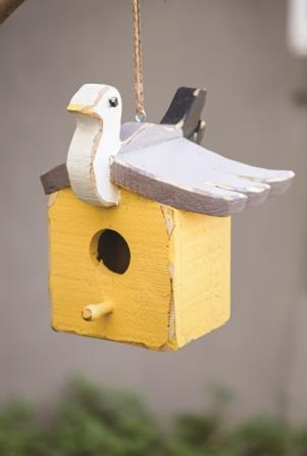 Bay Breeze Wood Seagull Square Birdhouse