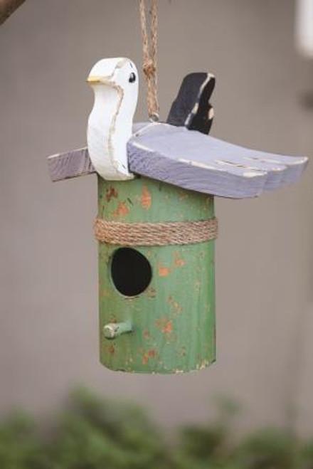 Bay Breeze Wood Seagull Piling Birdhouse