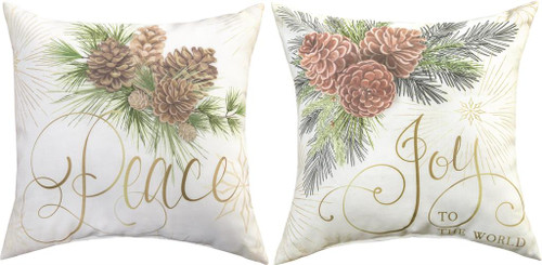 Winter Pine 18 x 18 Peace Joy Pillow