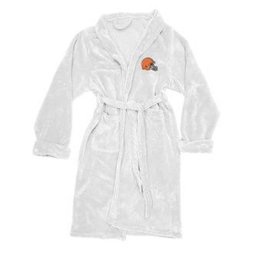 Cleveland Browns Mens Silk Touch White Bath Robe