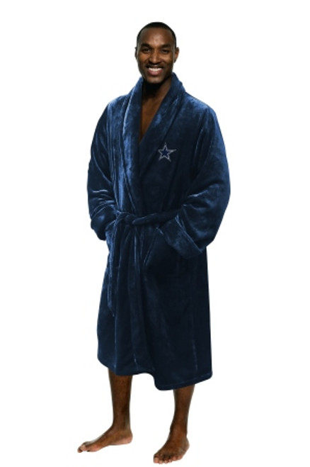 Dallas Cowboys Mens Silk Touch Navy Bath Robe