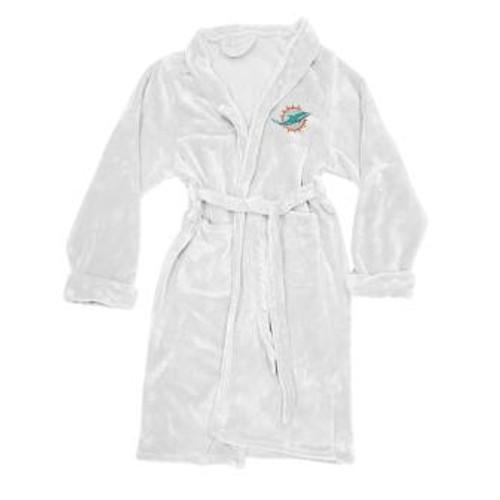 Miami Dolphins Mens Silk Touch White Bath Robe