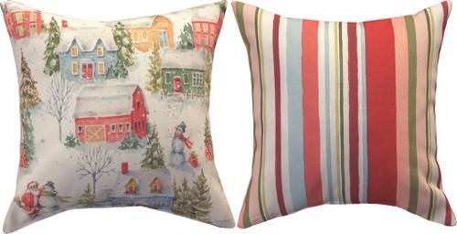 Welcoming Santa 12 x 12 Reversible Pillow