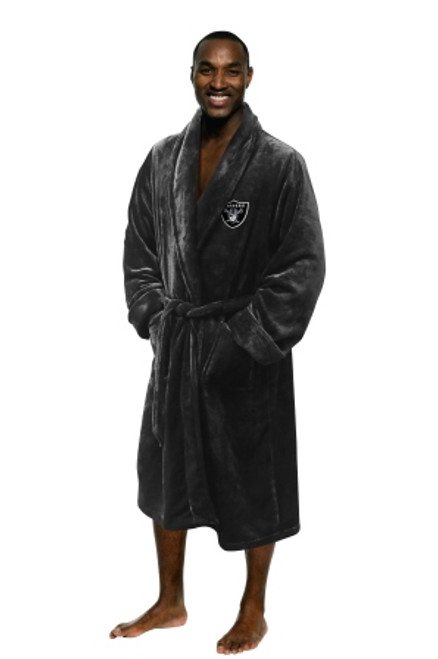 Oakland Raiders Mens Silk Touch Black Bath Robe