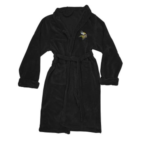 Minnesota Vikings Mens Silk Touch Black Bath Robe