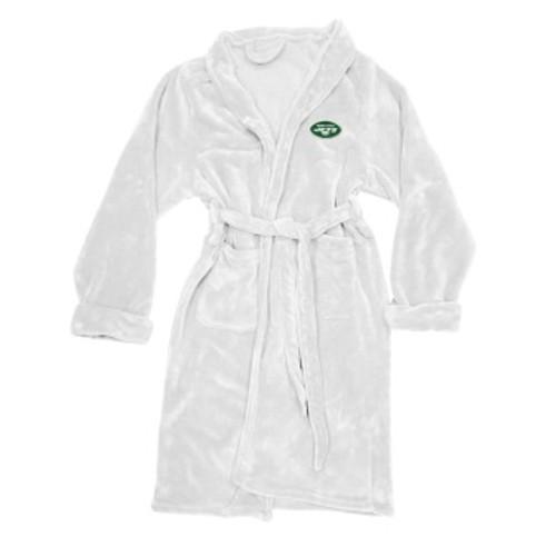 New York Jets Mens Silk Touch White Bath Robe
