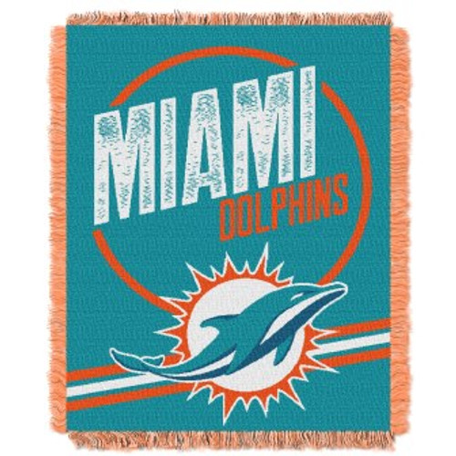 Miami Dolphins Read Option Woven Tapestry Throw Blanket