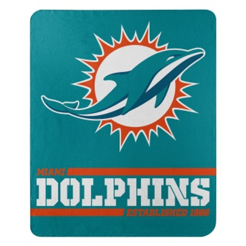 Miami Dolphins Official NFL Split Wide Fleece Throw Blanket