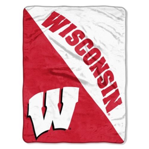 Wisconsin Badgers Official NCAA Halftone Micro Raschel Throw Blanket