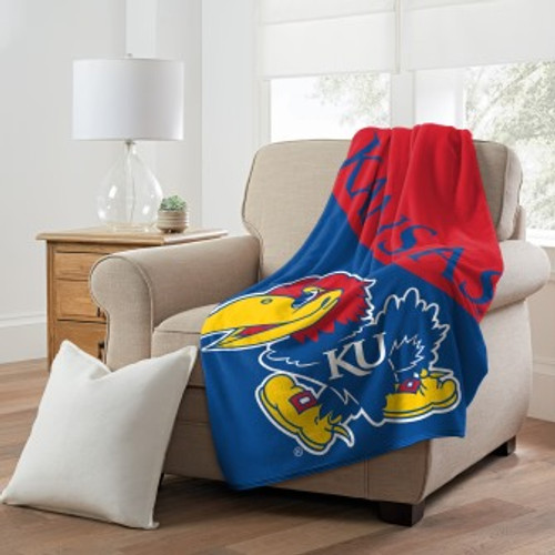 Kansas Jayhawks Official NCAA Halftone Micro Raschel Throw Blanket