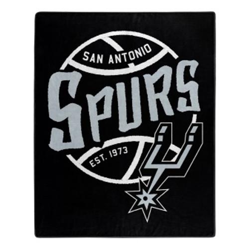 San Antonio Spurs Official NBA Black Top Raschel Throw Blanket