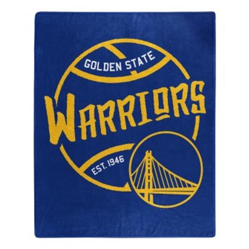 Golden State Warriors Official NBA Black Top Raschel Throw Blanket