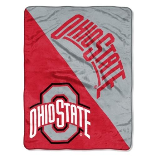 Ohio State Buckeyes Official NCAA Halftone Micro Raschel Throw Blanket