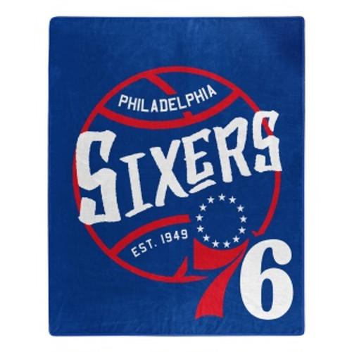 Philadelphia 76ers Official NBA Black Top Raschel Throw Blanket
