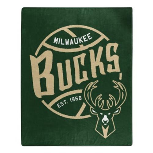 Milwaukee Bucks Official NBA Black Top Raschel Throw Blanket