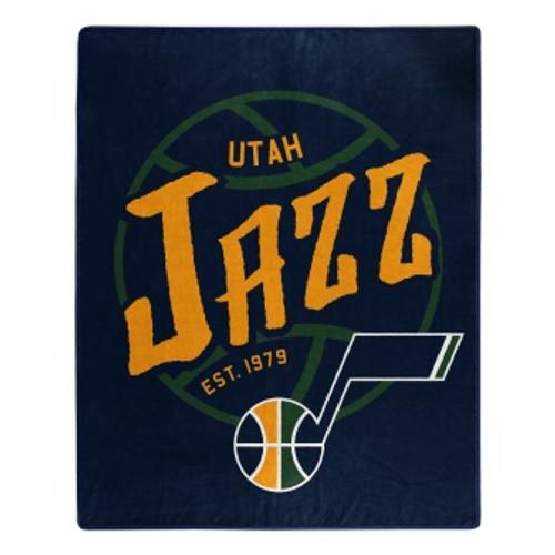 Utah Jazz Official NBA Black Top Raschel Throw Blanket