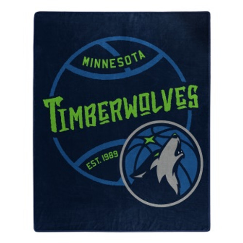 Minnesota Timberwolves Official NBA Black Top Raschel Throw Blanket